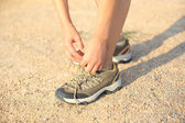 Runner try new running shoes — Stock Photo