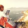 Woman hiker use tablet pc — Stock Photo #41741903