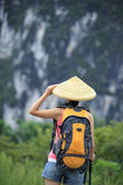 Woman hiker at guilin — Stock Photo