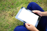 College student use tablet pc — Stock Photo