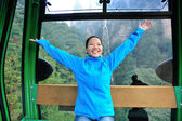Woman travel in ropeway — Stock Photo