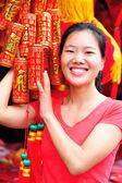 Woman wishing a happy chinese new year — Stock Photo