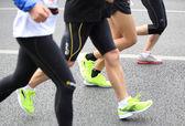 Dozens of Unidentified athletes running at the shenzhen international marathon — Stock Photo