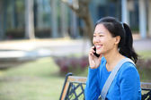 College student use smart phone — Stock Photo