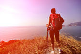 Woman stand at seaside mountain — Stock Photo