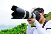 Frau Fotografen nehmen Foto — Stockfoto