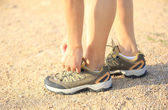Runner try new running shoes — Stock Photo