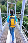 Woma hiker hiking at zhangjiajie national forest — Stock Photo