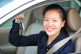 Driver holding key from the car — Stock Photo