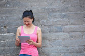 Woman use tablet pc — Stock Photo