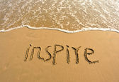 Inspire Drawn On The Beach — Stock Photo