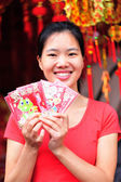 Woman wishing you a happy chinese new year — Foto Stock