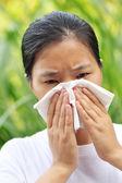 Woman sneeze — Foto Stock