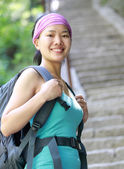 Woman climb mountain hua — Stock Photo