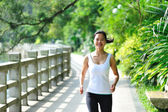 Asian woman jogging at park — Stock Photo