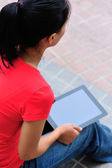Adult student use tablet pc — Stock Photo