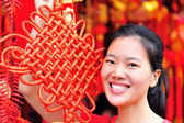 Young asian woman at the drum tower — Stock Photo