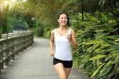 Asian woman jogging — Stock Photo
