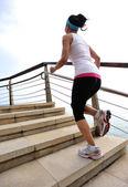 Runner athlete running at seaside. — Stock Photo