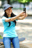 Taking self photo at skatepark — Stock Photo