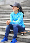 Sit rest on skatepark stairs — Stock Photo