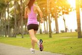 Runner athlete running at tropical park — Stockfoto