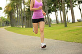 Runner athlete running at tropical park — Stock Photo