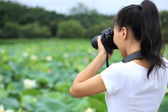 Photographer taking photo of blooming lotus — Stock Photo