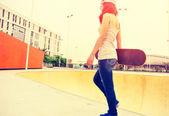 Skateboarder  at skatepark — Stock Photo
