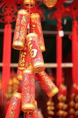 Fake red chinese firecrackers — Stock Photo