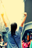 Cheering woman open arms — Stock Photo