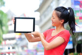 Woman hold blank digital tablet — Foto Stock