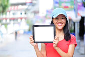 Woman hold blank digital tablet — Stock Photo