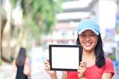 Asian woman hold blank digital tablet — Foto de Stock