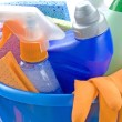 Bucket with detergents — Stock Photo