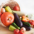 Fresh vegetables in wicker basket — Stock Photo