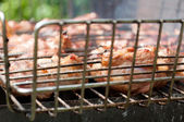 Grilling marinated meat on a charcoal grill — Stock Photo