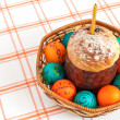Easter eggs and basket isolated — Stock Photo
