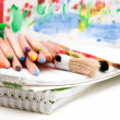 Art supplies: pencils, brushes, paints — Stock Photo
