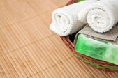 Soap and towel — Stock Photo
