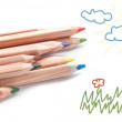 Colored pencils and sketch pad — Stock Photo