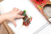 Hand of a little child draws a finger paints — Stock Photo