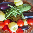 Organic food background Vegetables in basket — Stock Photo #30146883