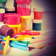 Creative Art Background made of old paint brushes, albums, color — Stock Photo