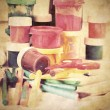 Creative Art Background made of old paint brushes, albums, color — Stock Photo #31480877