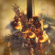 Christmas decorations on xmas tree  — Stock Photo