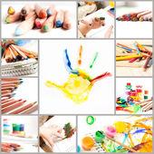 Set of photos of children's creativity — Stock Photo