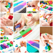 Children mold plasticine — 图库照片