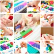 Children mold plasticine — Stock Photo