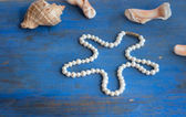Pearl necklace and seashels on the blue background — Stock Photo